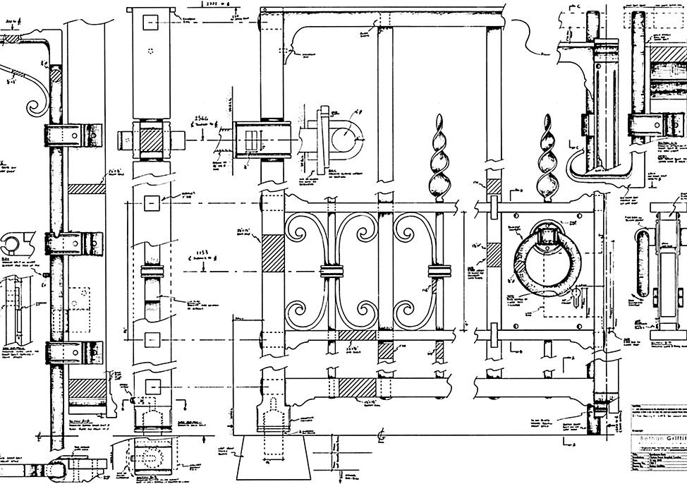 Detailed construction drawing by The Ironwork Studio