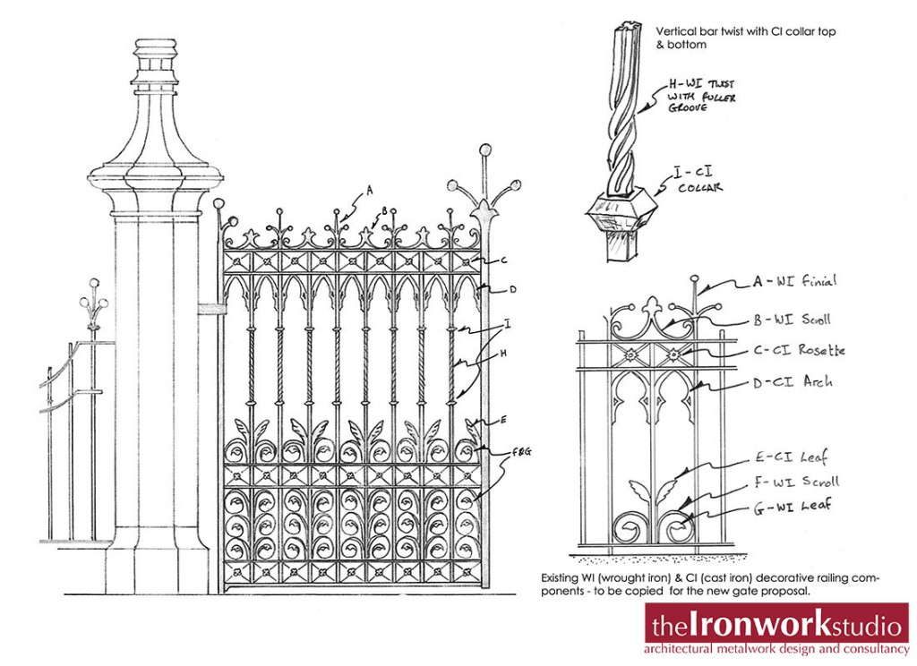 As bespoke decorative ironwork specialists our work ranges from conservation reports to contemporary design. Shown, one of our restoration projects.